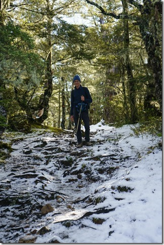 Dad in a patch of snow (Bealy Spur)