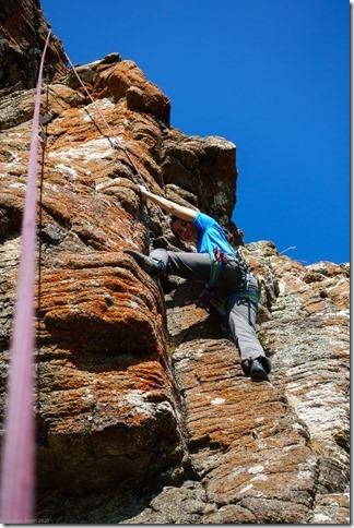 Ari climbing at Lyttelton rock (Ari visits 2020)