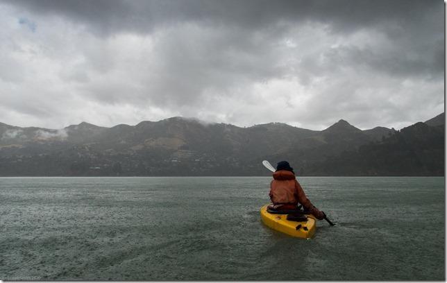 Ari kayaking in Lyttellton harbour (Ari visits 2020)