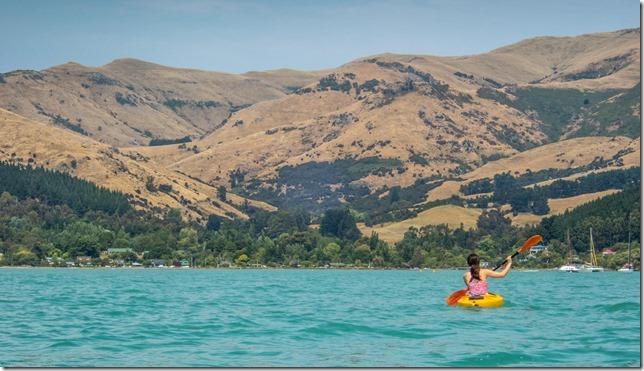 Ari kayaking in the harbour (Ari visits 2020)