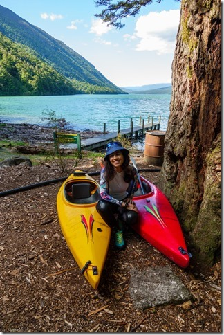 Ari with the kayaks (Ari visits 2020)