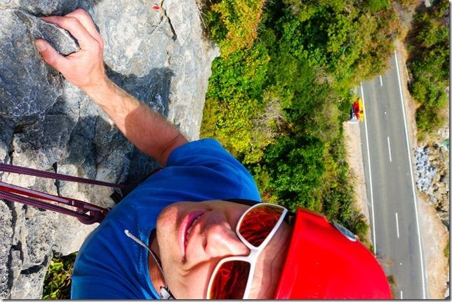 Climbing at the sea cliffs (Ari visits 2020)