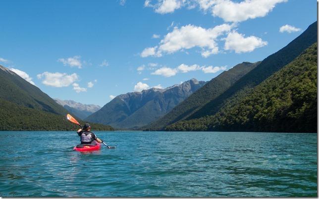 Kayaking across the lake (Ari visits 2020)