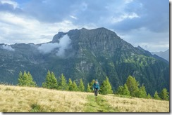 Leonie arriving at the hut (Walks in Ticino Sept 2018)