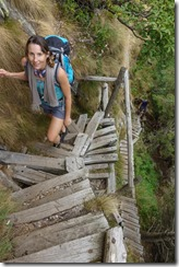 Leonie climbing the funky wooden stairs (Walks in Ticino Sept 2018)