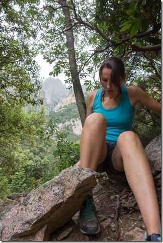 Leonie navigating on her bum (Corsica)