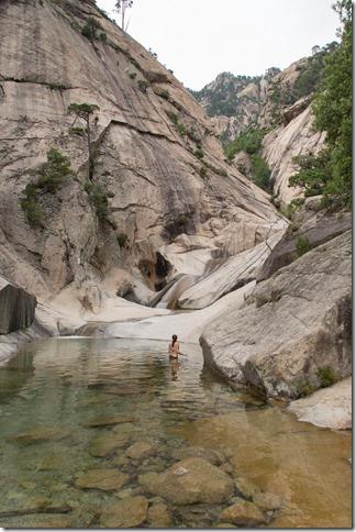 Leonie takes a dip (Corsica)