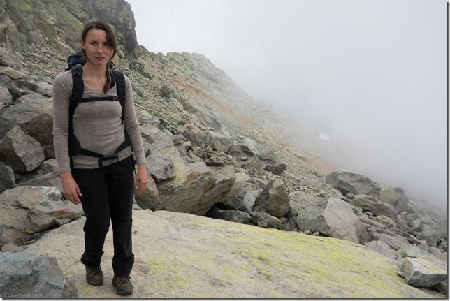Leonie walking with mist behind (Corsica 2014)