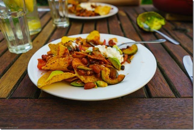 Mmmm nachos (Ari visits 2020)