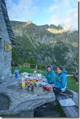 Mum and Leonie at the hut (Walks in Ticino Sept 2018)