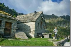 Mum at the hut (Walks in Ticino Sept 2018)
