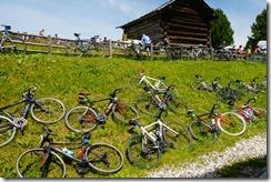 Bikes at the finish line (Giro delle Dolomiti 2019)