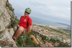 Cris abseiling (Visiting Catalonia May 2017)