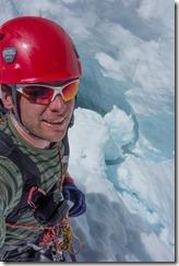 Cris standing near a crevase (Tramping Ice Lake Dec 2015)