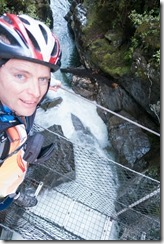 Crossing the river before the hut (MTB Kill Devil Track Aug 2020)