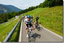 Leonie riding up the hill (Giro delle Dolomiti 2019)