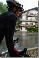 Leonie about to head off into the rain (Giro delle Dolomiti 2019)