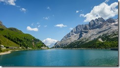 The lake at passo Fedaia (Giro delle Dolomiti 2019)