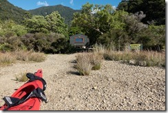At Matai Bay Hut (Sea Kayaking Elaine Bay March 2021)