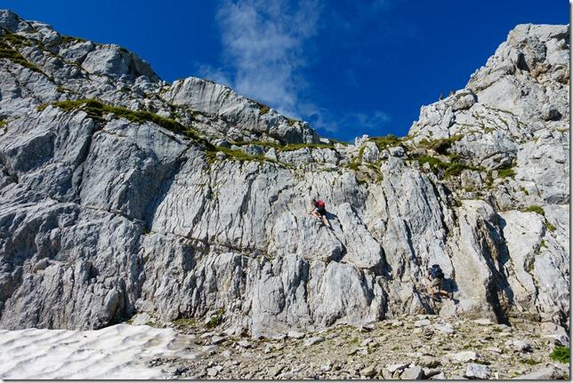 Johannes climbing the rocky graded section (Hochkalter Aug 2019)
