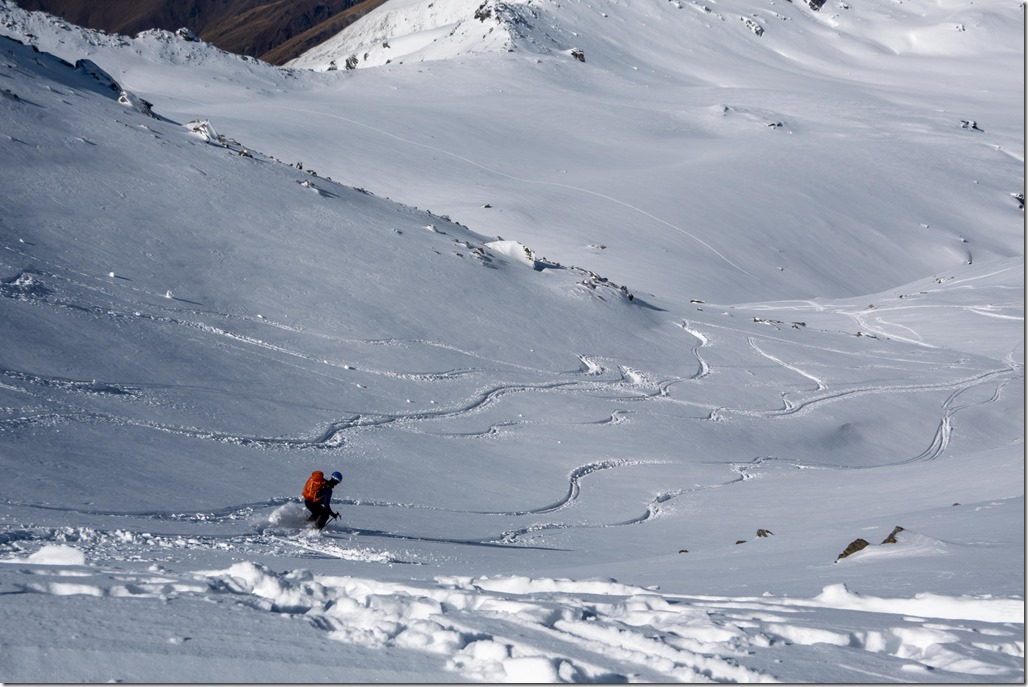 Craig descending in great snow (Ski touring Remarkables August 2021)