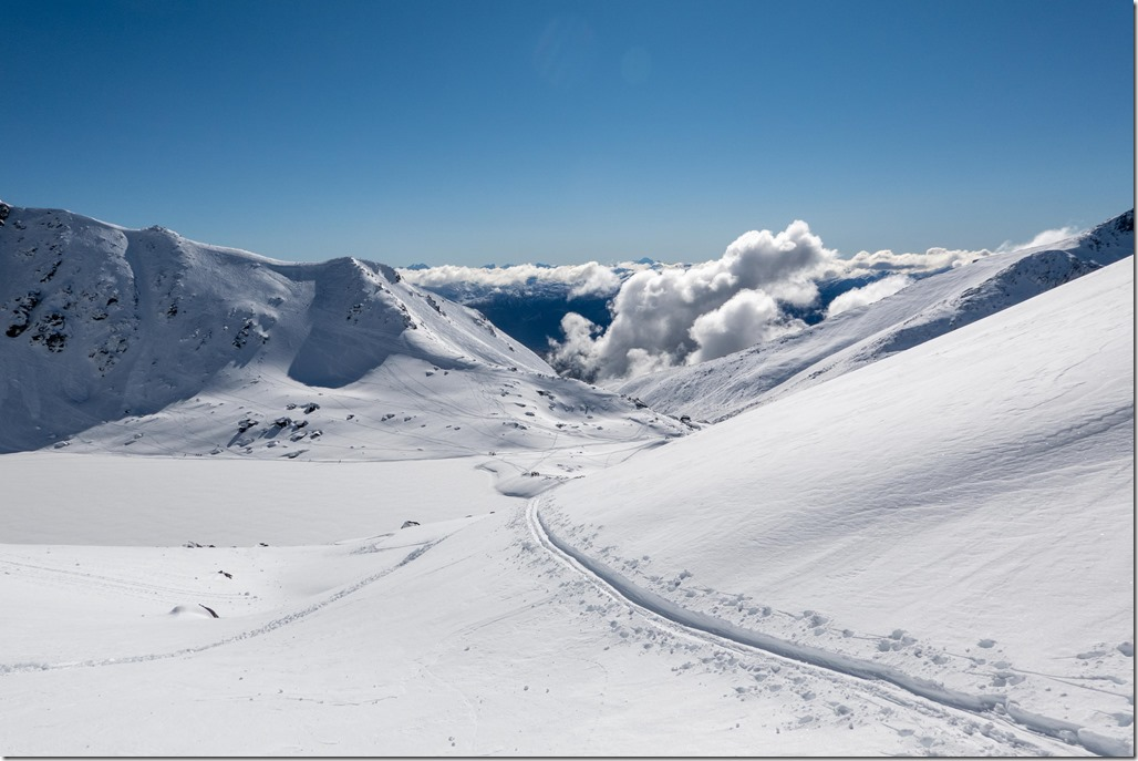 Looking down to Lake Alta (Ski touring Remarkables August 2021)